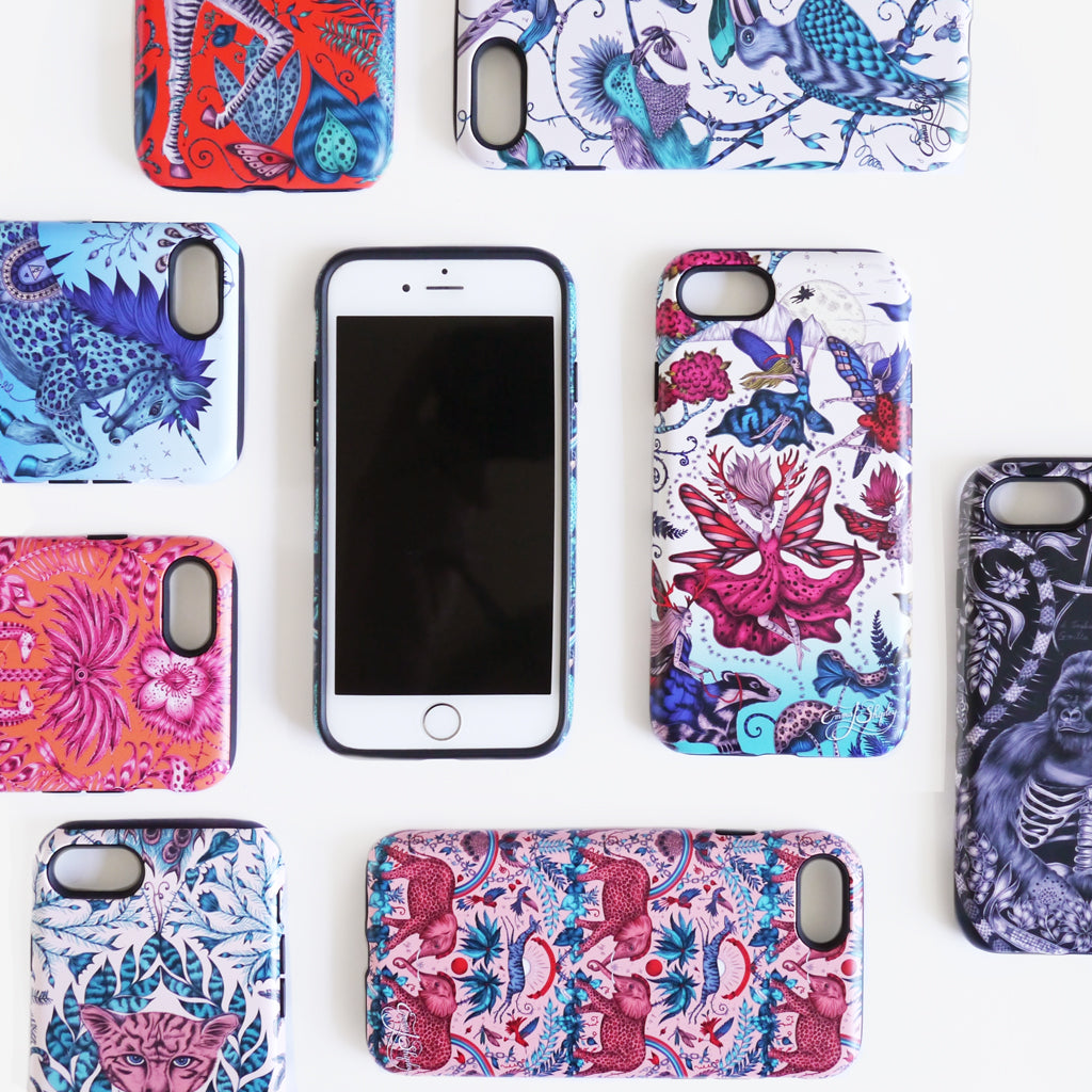Limited edition phone cases hand drawn and designed by Emma J Shipley featuring a menagerie of fantastical creatures and plants