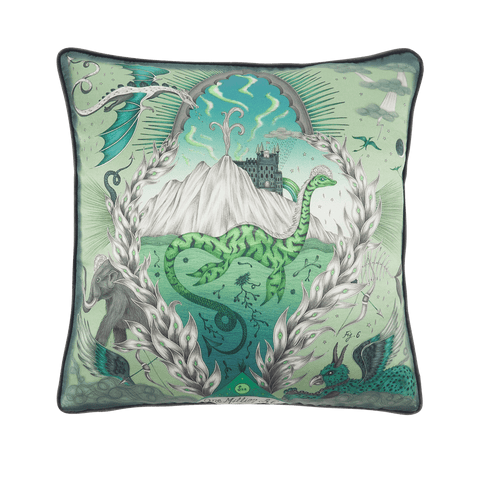 The Front of the Highlandia Green silk cushion, featuring the loch ness monster, the Scottish highlands and lots of other mystical beasts, designed by Emma J Shipley