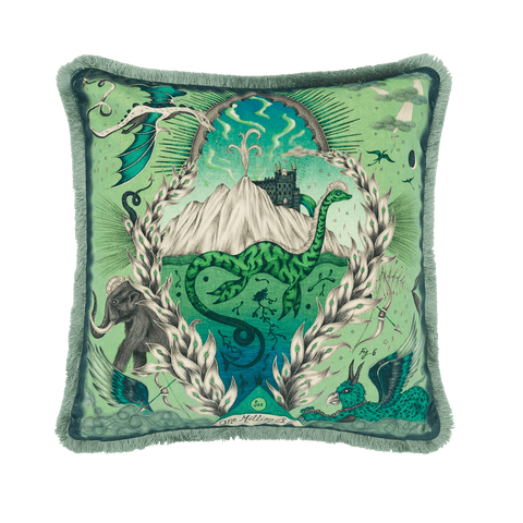 The Front of the Highlandia Green Luxury velvet cushion, featuring the loch ness monster, the Scottish highlands and lots of other mystical beasts, designed by Emma J Shipley