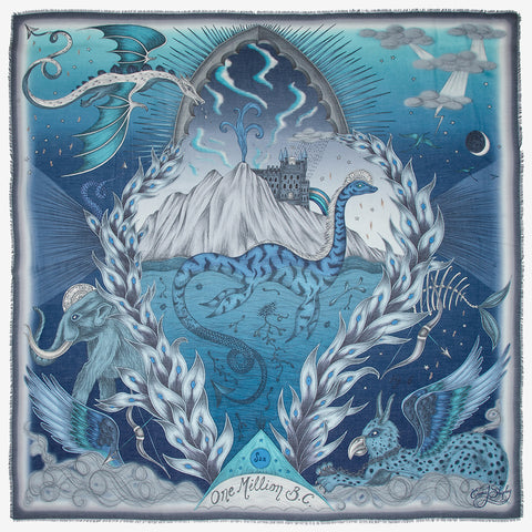 The SS20 Highlandia Scarf is the Scottish inspired landscape, in this beautiful soft blue tone, the print is really magical and shows off the Loch Ness monster, dragon and mammoth. Designed by Emma J Shipley for the spring scarf collection