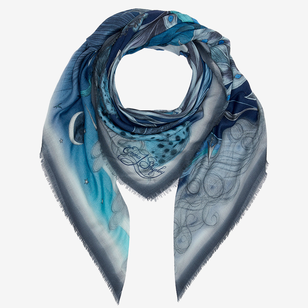 The Blue Highlandia Modal Cashmere scarf is a brilliant accessory for spring, it can be styled in many different ways and the detailed edges really add to the look.