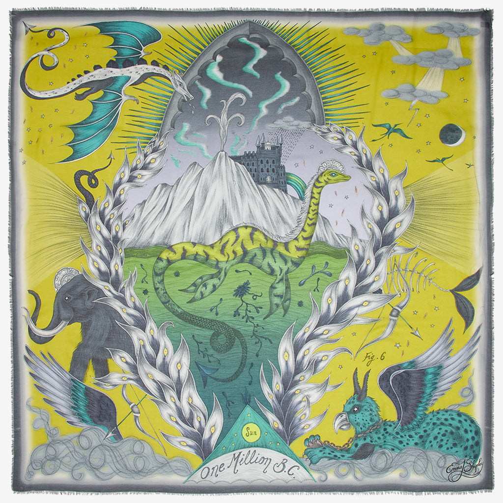 The SS20 Highlandia Scarf is the Scottish inspired landscape, in this beautiful chartreuse lime tone, the print is really magical and shows off the Loch Ness monster, dragon and mammoth. Designed by Emma J Shipley for the spring scarf collection