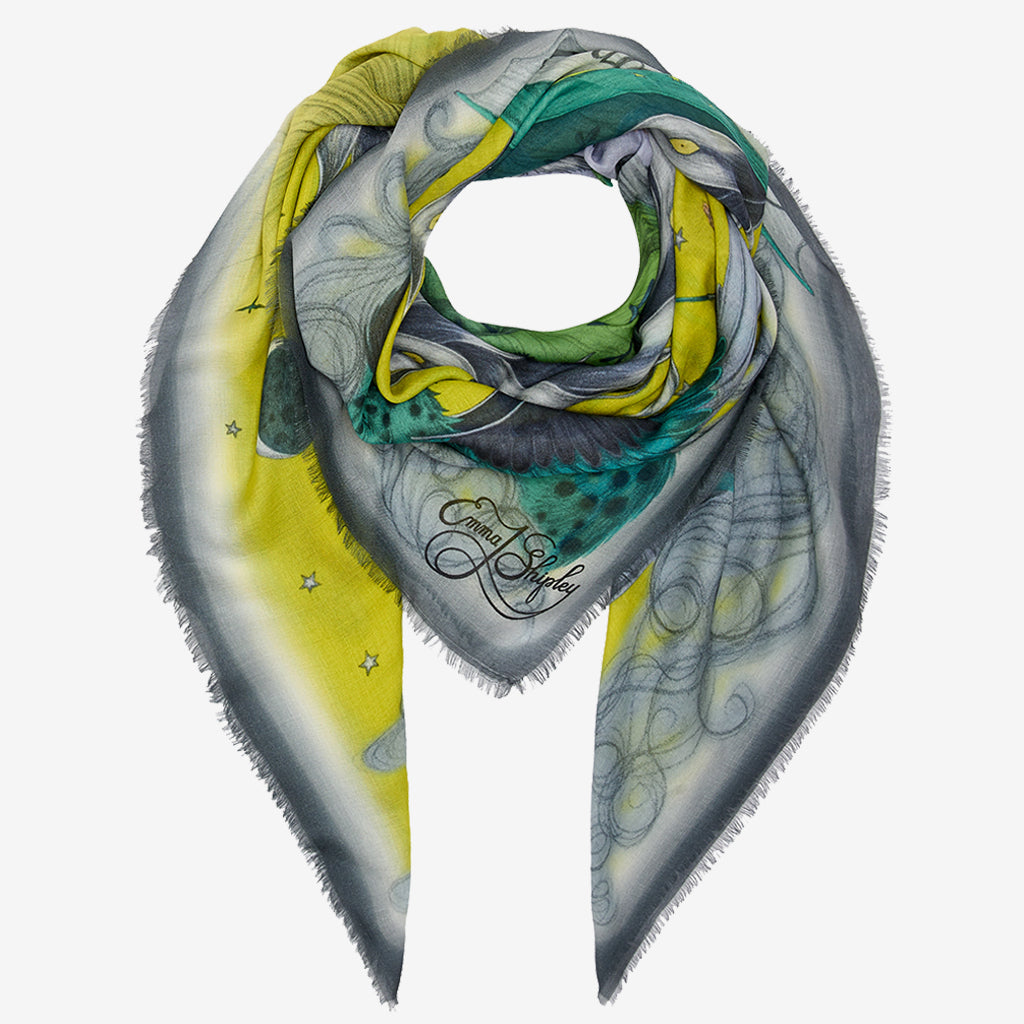 The Lime Highlandia Modal Cashmere scarf is a brilliant accessory for spring, it can be styled in many different ways and the detailed edges really add to the look.