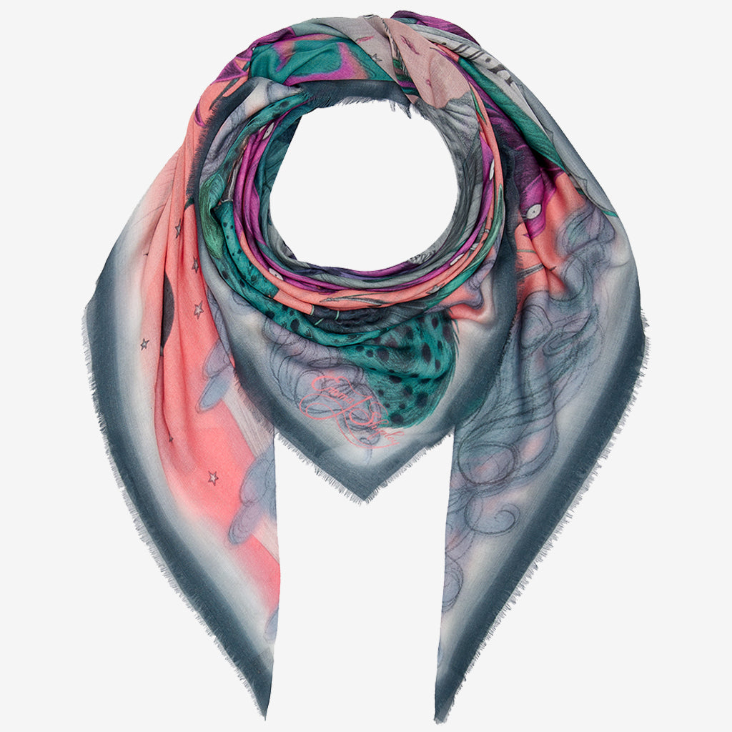 The Pink Highlandia Modal Cashmere scarf is a brilliant accessory for spring, it can be styled in many different ways and the detailed edges really add to the look.