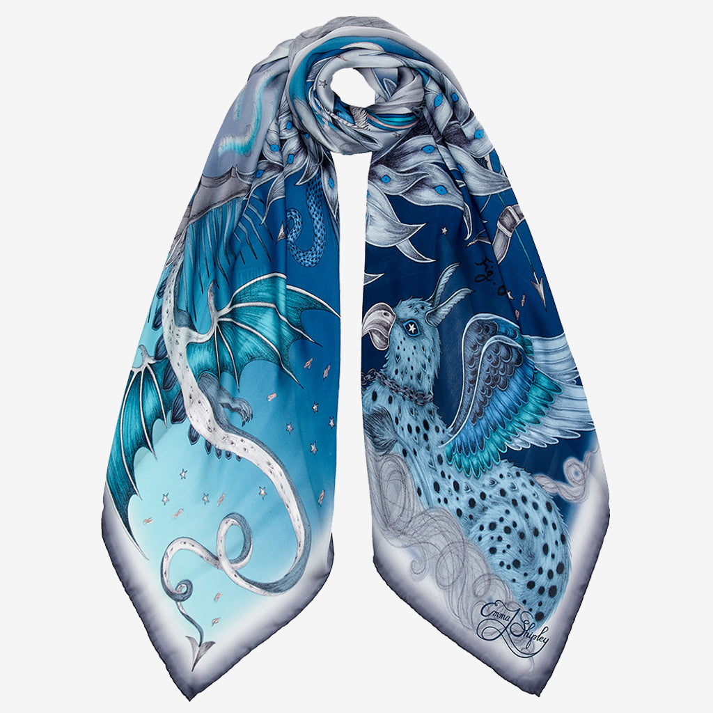 The Blue Highlandia Silk Chiffon scarf is a brilliant accessory for spring, it can be styled in many different ways and the detailed edges really add to the look.