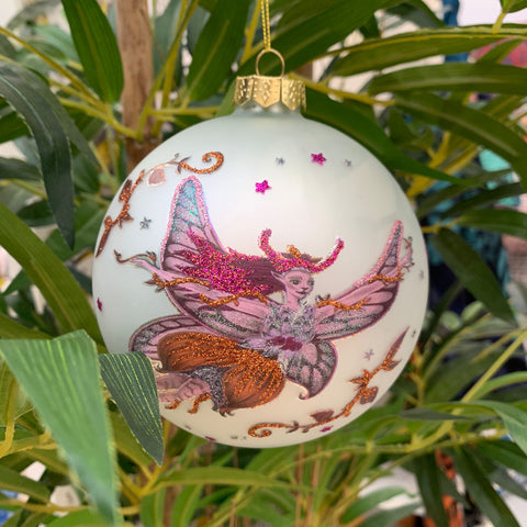 Flying Fairy Bauble - White