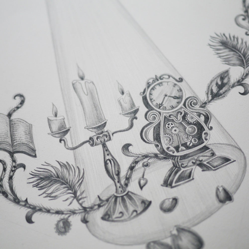 Beloved characters are showcased within the hand-drawn design, such as Mrs Potts, Chip, Lumière and Cogsworth.