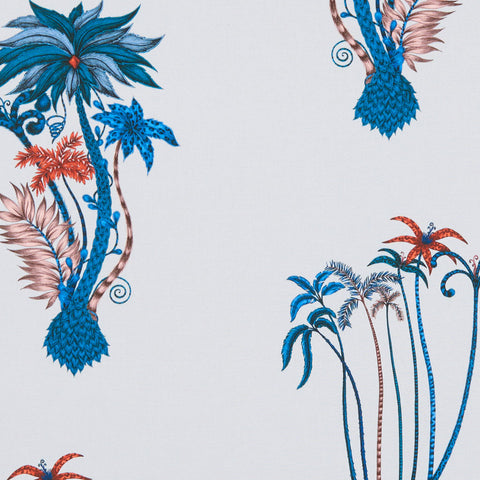 The tropical and exotic Jungle Palms cotton satin fabric designed by Emma J Shipley x Clarke & Clarke in blue