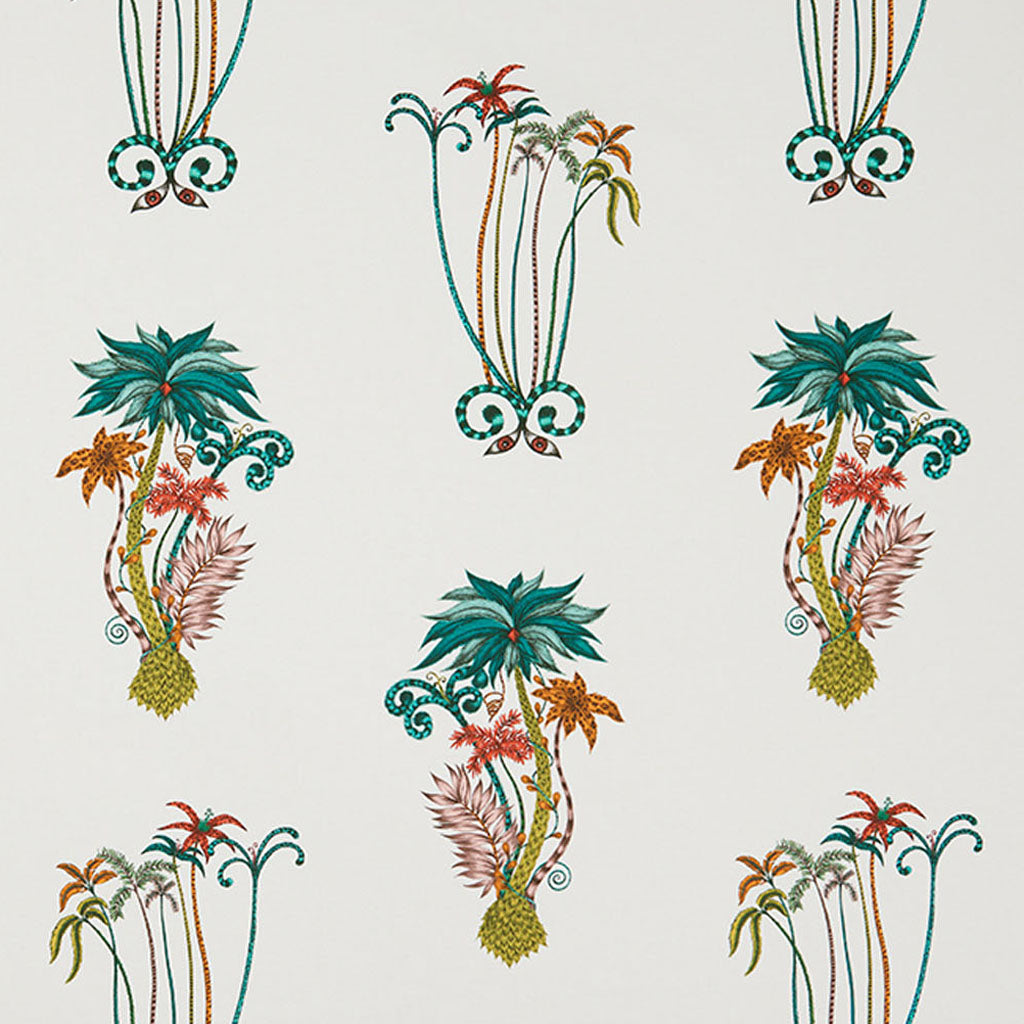 Tropical and luxurious, the exotic Jungle Palms cotton satin fabric designed by Emma J Shipley x Clarke & Clarke in jungle