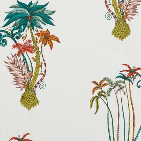The exotic and rich Jungle Palms cotton satin fabric designed by Emma J Shipley x Clarke & Clarke in jungle