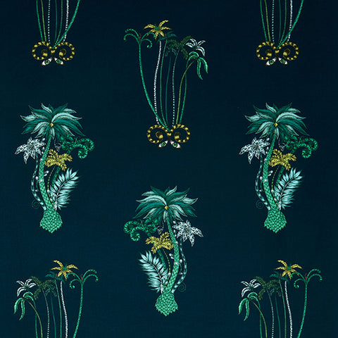 Jungle Palms Cotton Satin Fabric