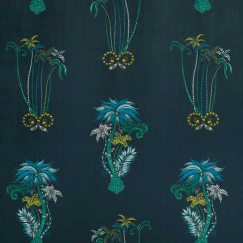 Jungle Palms Velvet Fabric