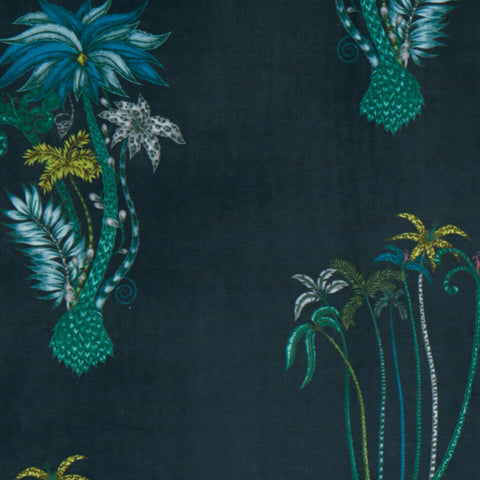 Jungle Palms velvet fabric from Animalia collection with Clarke & Clarke