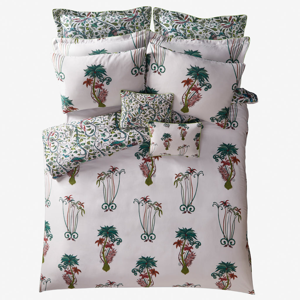 The beautifully exotic Jungle Palms bedding designed by Emma J Shipley for Clarke & Clarke