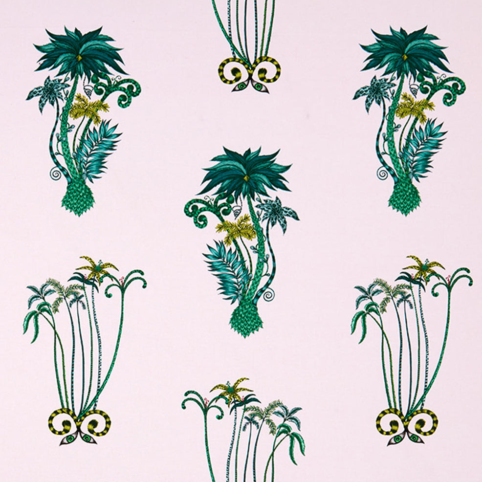 Breezy, exotic Jungle Palms cotton satin fabric designed by Emma J Shipley x Clarke & Clarke in pink
