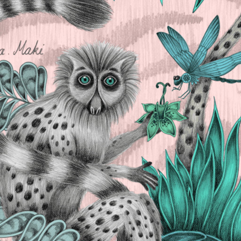 A Closer look at the Lemur Pink Round Tray, showing the details and the pencil sketches that make up the lemur, leaves and dragonfly