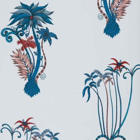 Tropical fantasy in the Jungle Palms wallpaper designed by Emma J Shipley x Clarke & Clarke