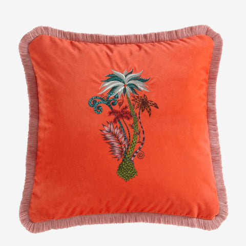 Bright coral velvet adorns the face of this Jungle Palms cushion, with a printed and embroidered palm tree in the centre. Designed by Emma J Shipley for Clarke & Clarke
