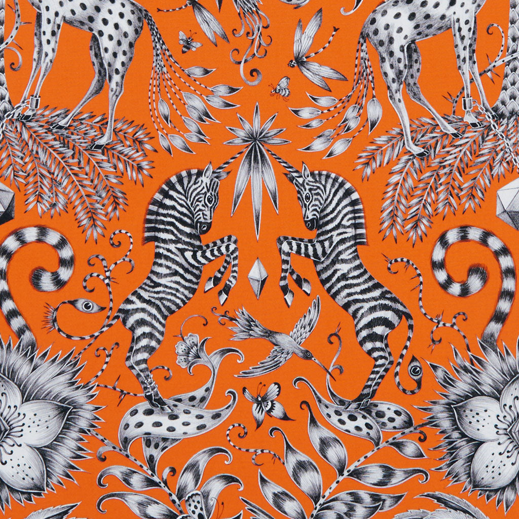 Magical unicorn zebras feature in the Kruger cotton satin fabric in orange designed by Emma J Shipley in collaboration with Clarke & Clarke interior experts