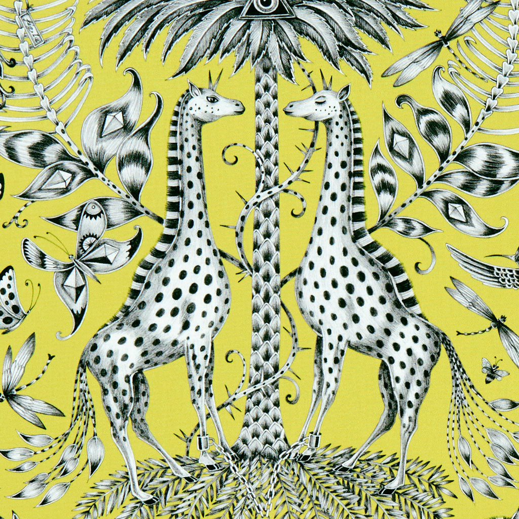 Enchanting giraffes feature on the lime Kruger cotton satin fabric in lime designed by Emma J Shipley in collaboration with Clarke & Clarke interior experts