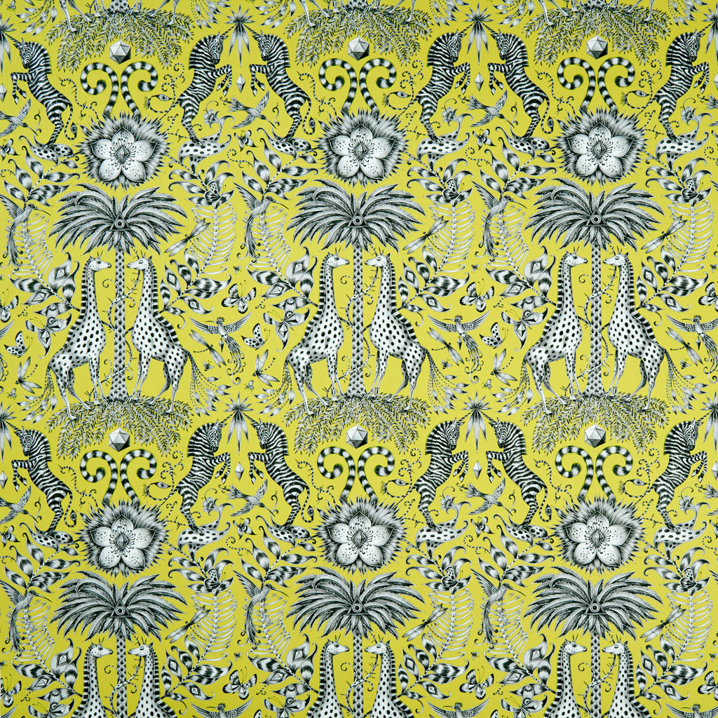 Enchanting giraffes and magical zebras feature in the Kruger design in lime, hand drawn by Emma J Shipley for a collaboration with interiors experts Clarke and Clarke