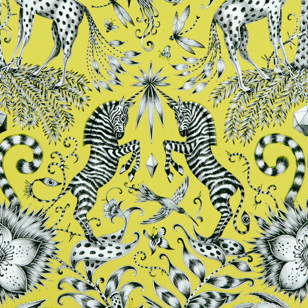 The magical unicorn-horned zebras of the Kruger design are hand drawn by Emma J Shipley and feature on the cotton satin Animalia fabric for Clarke & Clarke
