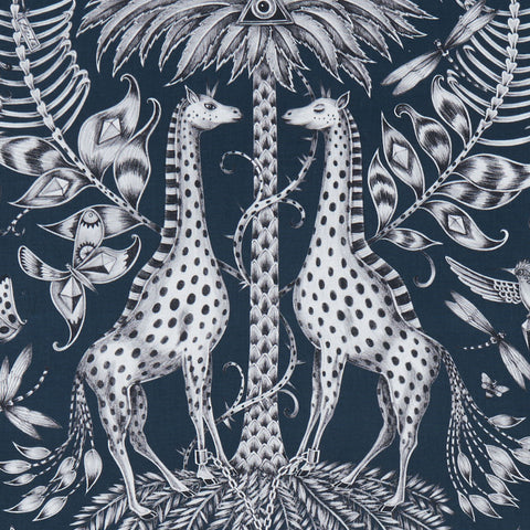 The magical navy Kruger cotton satin fabric designed by Emma J Shipley in collaboration with Clarke & Clarke