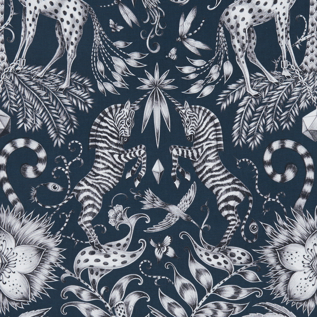 Take a closer look at the decorative Kruger design by Emma J Shipley upon this cotton satin design for Clarke & Clarke Animalia fabric range