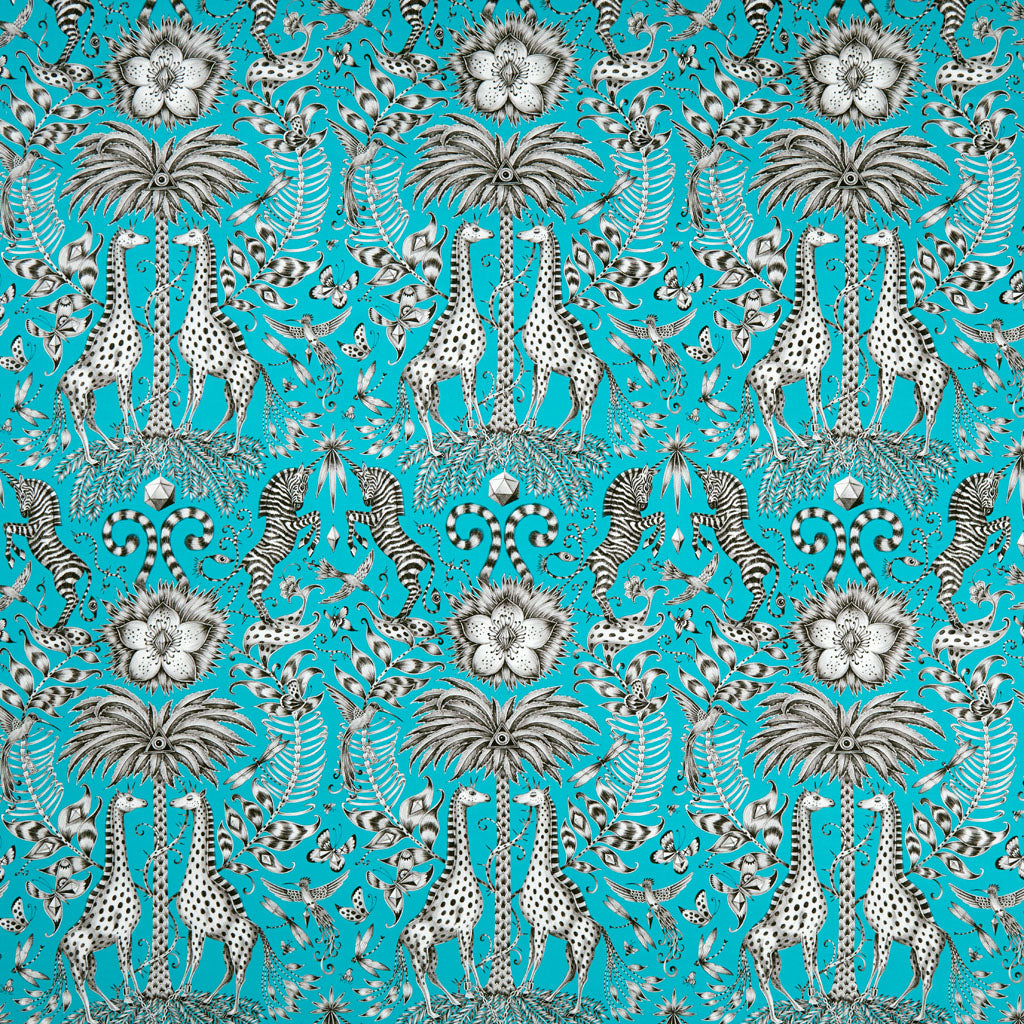 Teal makes this maximalist, opulent design increasingly exotic, hand drawn be Emma J Shipley for the Animalia collection in collaboration with interiors experts Clarke and Clarke
