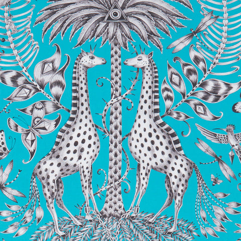 Teal Kruger cotton satin fabric Emma J Shipley x Clarke & Clarke will make a statement in your home