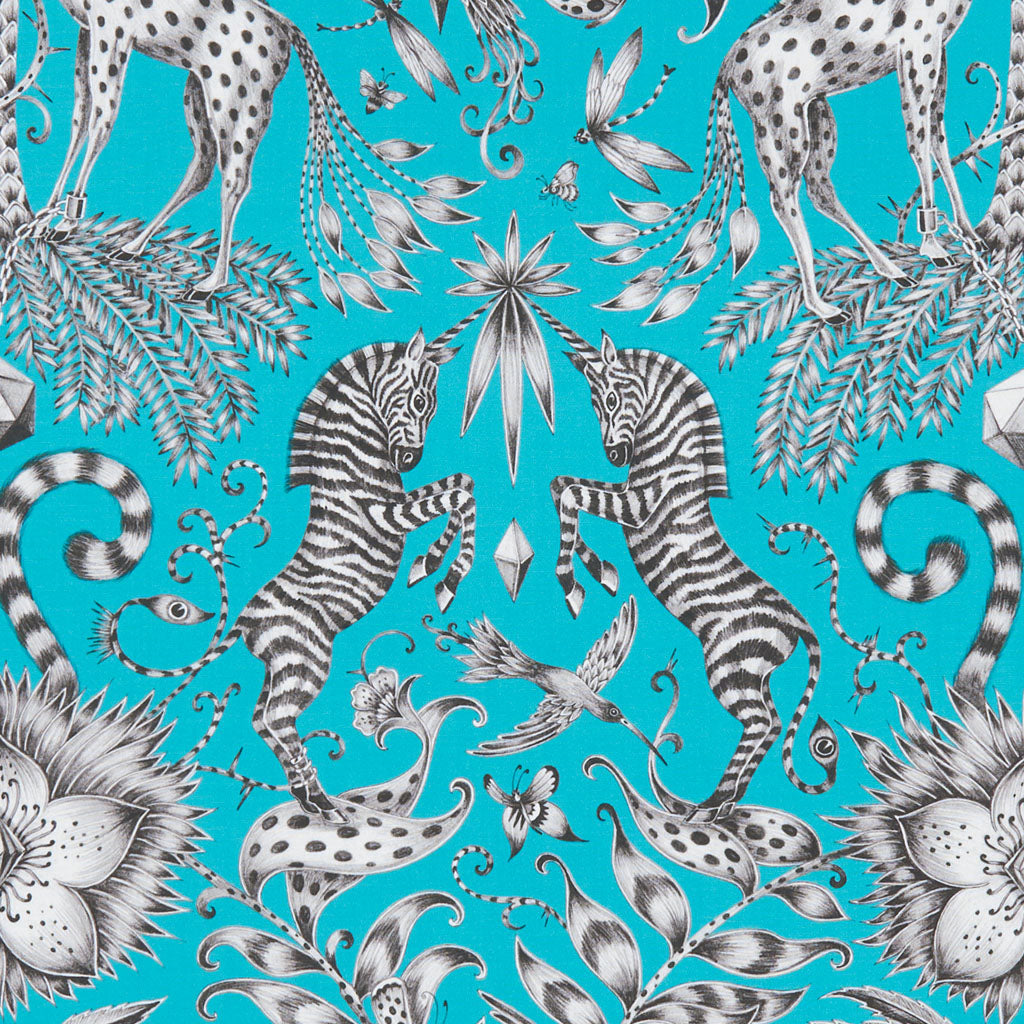 Teal Kruger cotton satin fabric Emma J Shipley x Clarke & Clarke is enchanting and exotic