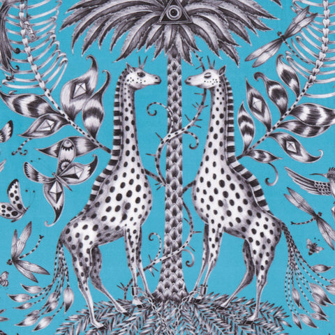 Exotic and enchanting, the Kruger velvet fabric in teal designed by Emma J Shipley in collaboration with Clarke & Clarke interior experts
