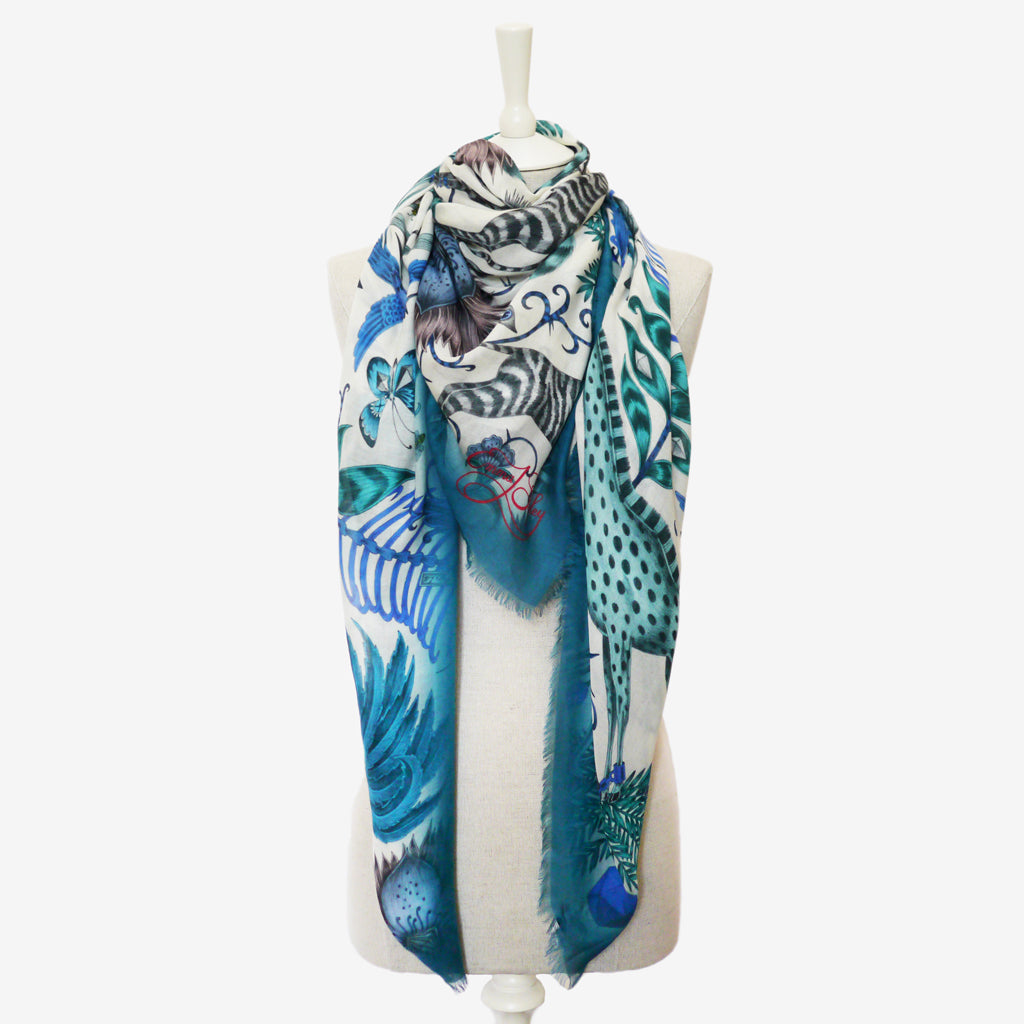 The blue Kruger Modal Blend Scarf inspired by the exotic safari adventure depicts Emma J Shipley's wilderness collection