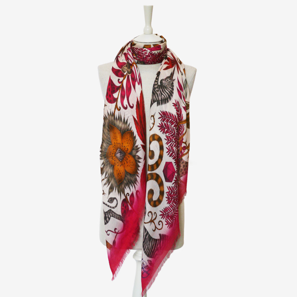 Emma J Shipley's Kruger modal blend scarf in a vibrant colour, with perfect wrap