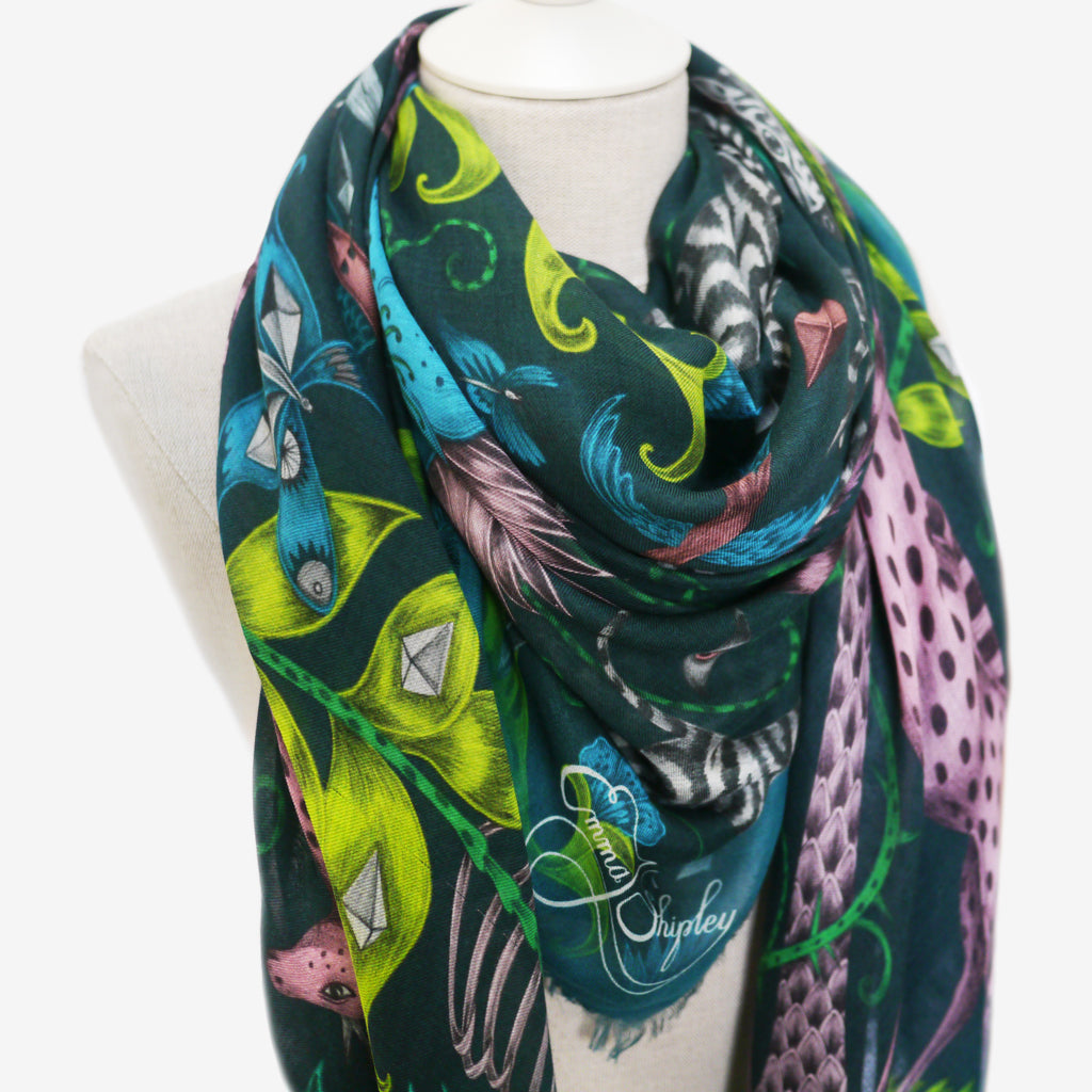 A close look of Emma J Shipley's Kruger Modal blend vibrant scarf