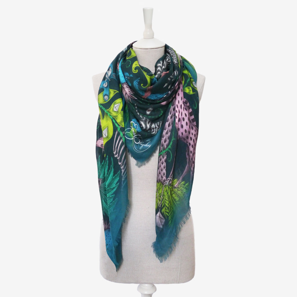 The deep teal luxurious modal blend scarf, perfect accessory for an evening out; designed by Emma J shipley for wildness collection