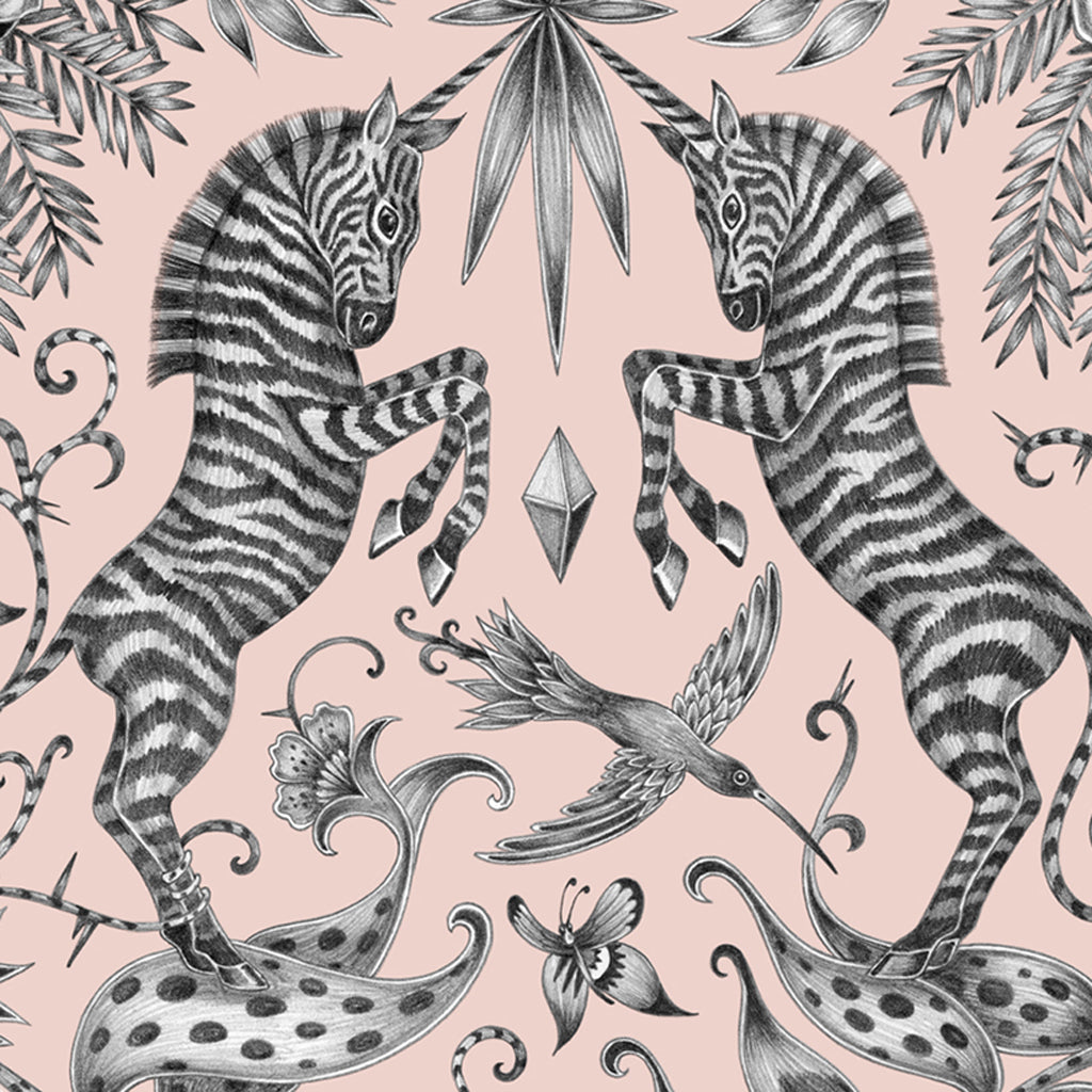 Unicorn-horned zebras feature on the Kruger coaster, designed by Emma J Shipley and created with Jamida