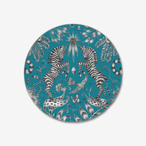 Emma J Shipley and Jamida collaborated on the stunning teal Kruger Coaster, featuring 2 towering zebras and a beautiful safari scene