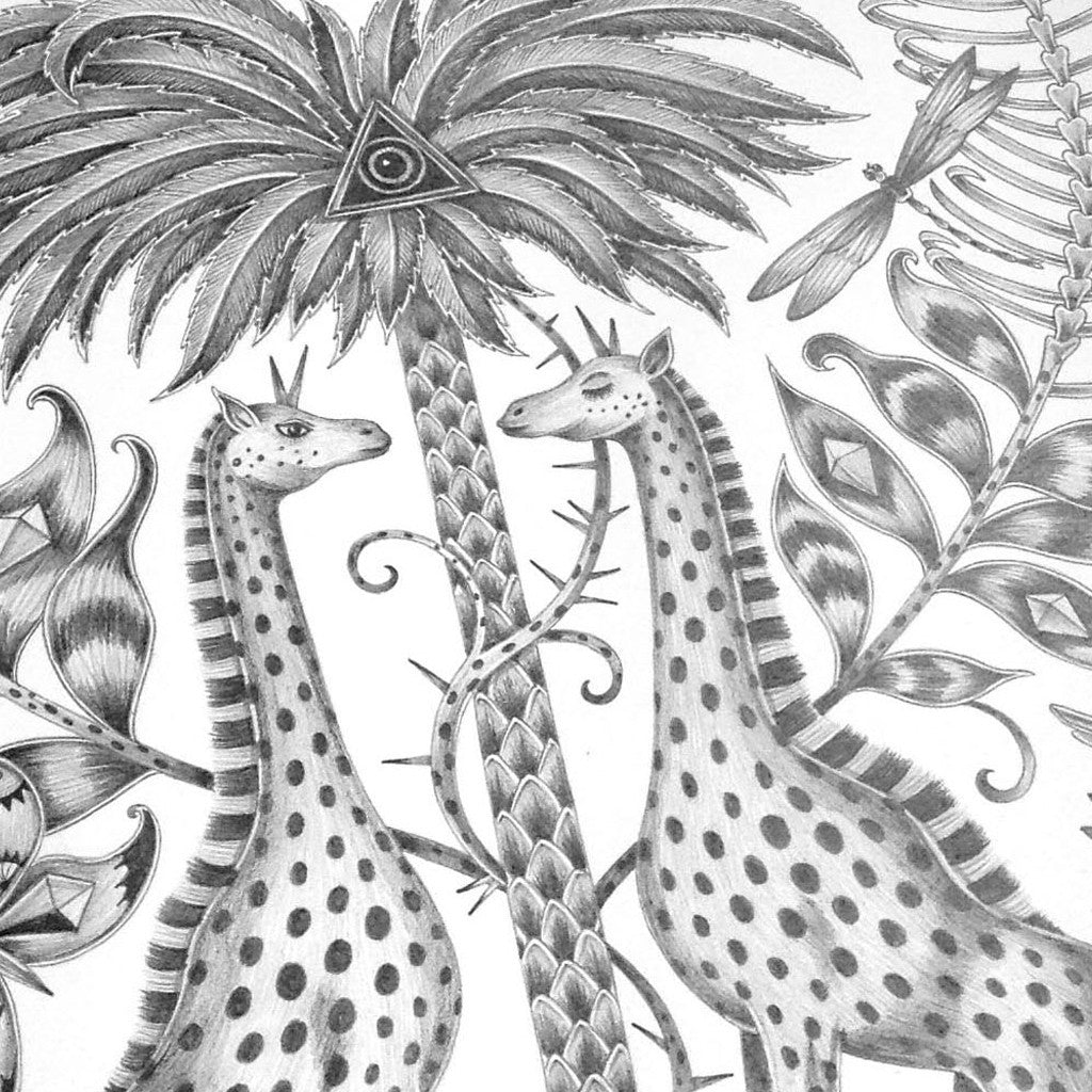 The original hand-drawn illustration of the majestic giraffes and detailed palm tree, used on the Giraffe Cushion by Emma J Shipley.