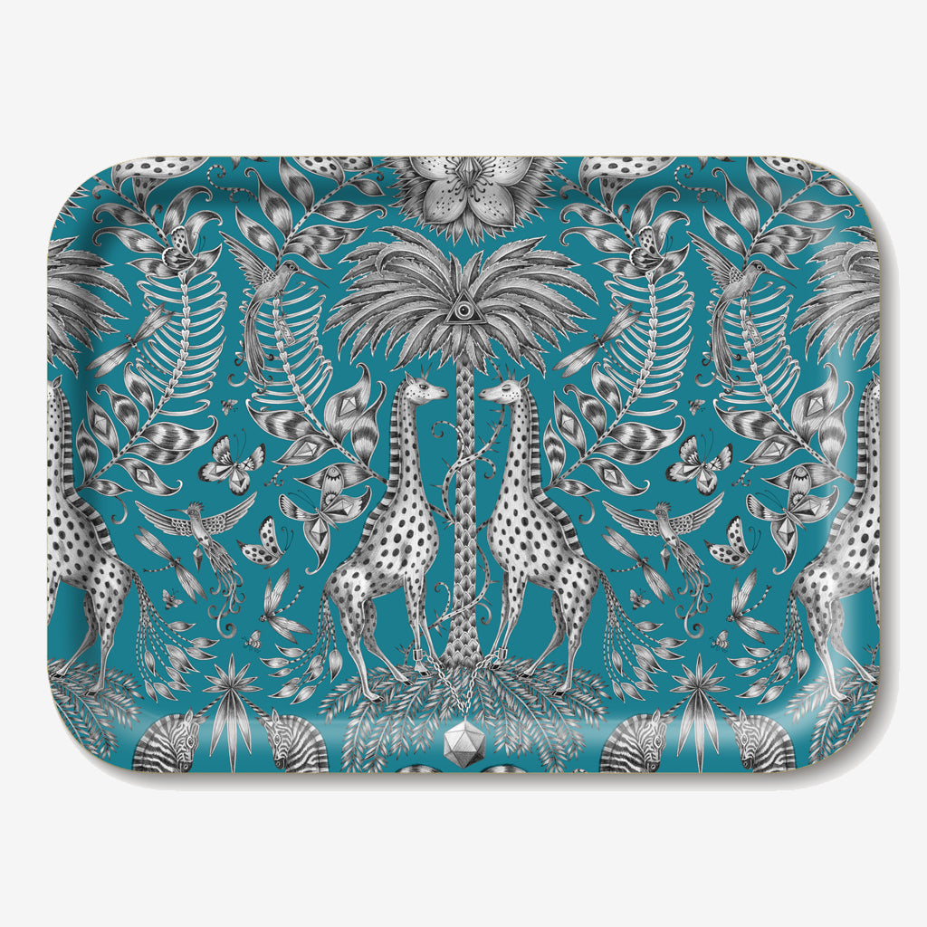 The safari inspired small Kruger Tray features giraffes, zebras and tropical plants drawn by Emma J Shipley