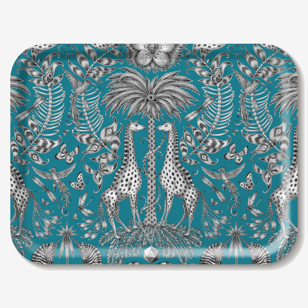 The Kruger Tray features a magical design adorned with giraffes, zebras and birds designed by Emma J Shipley