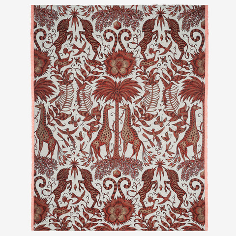 Emma J Shipley Kruger throw blanket, jacquard woven in Italy in a silk and merino wool blend.