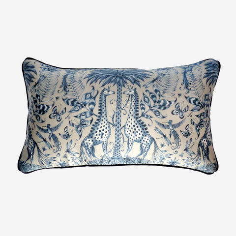 The Kruger Double Bolster cushion is the design of Emma J Shipley, featuring the luxurious, fantastical Kruger design in beautiful blues and creams