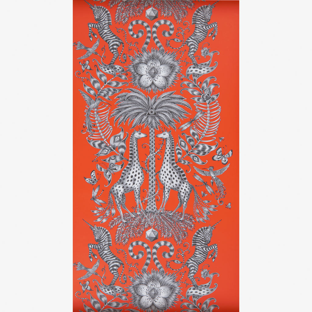 Fiery orange Kruger Wallpaper designed by Emma J Shipley x Clarke & Clarke adds rich luxury to your home