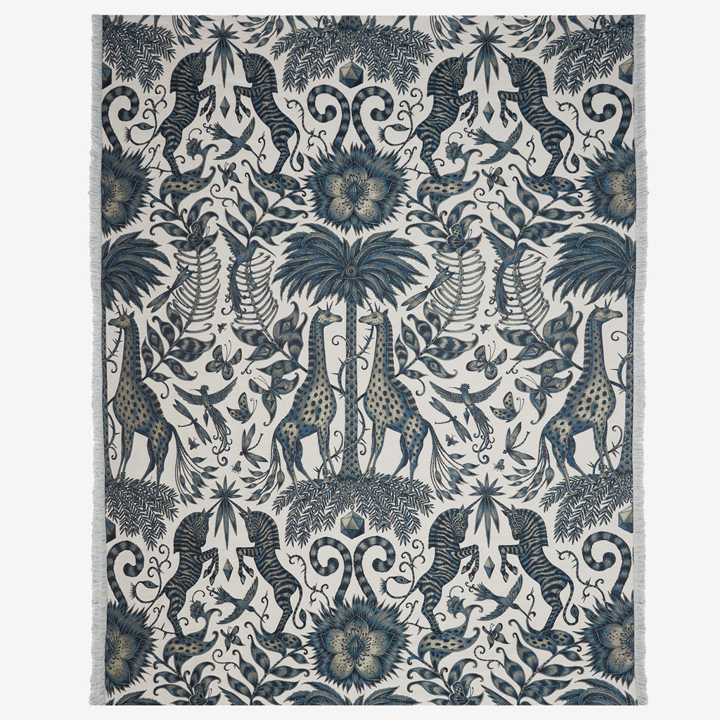 Emma J Shipley Kruger luxury throw, inspired by nature, African wildlife including zebras and giraffes.