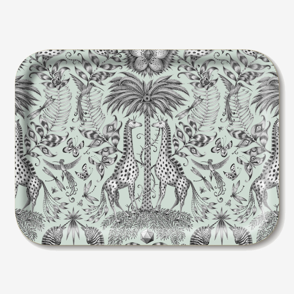 The animalistic Kruger Tray is designed by Emma J Shipley and features enchanted giraffes, zebras and tropical plants