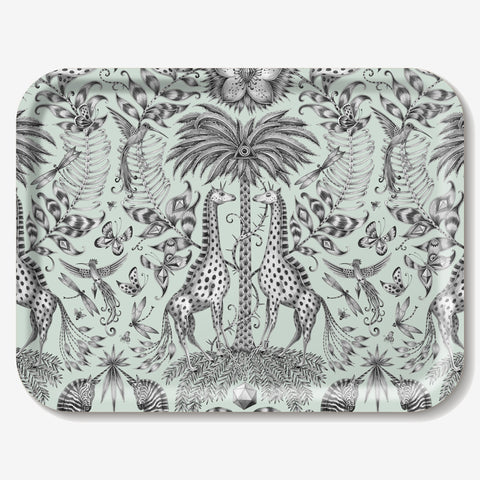 The Kruger design features fantastical zebras, giraffes and humming birds upon a birch wood tray designed by Emma J Shipley