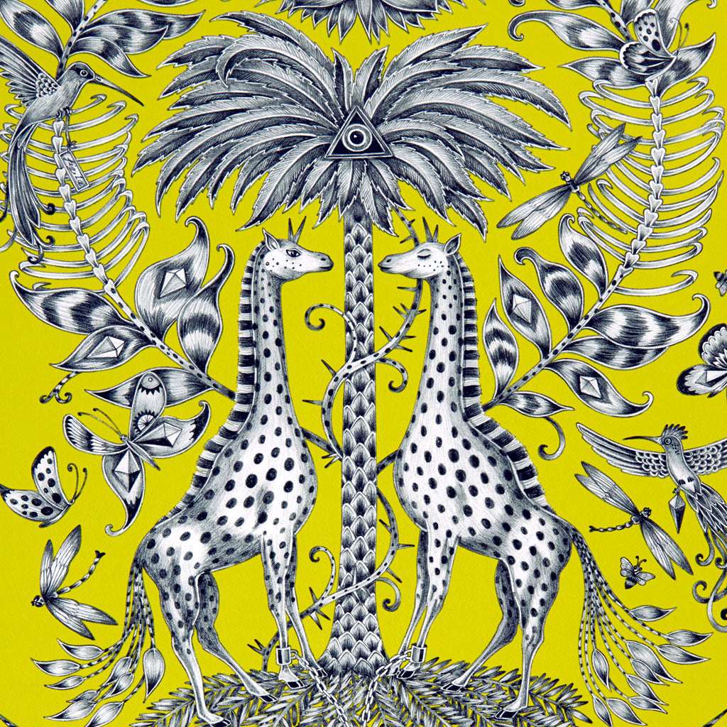 The Kruger wallpaper features enchanting giraffes and unicorn zebras, showing the joy of the animal kingdom illustrated by Emma J Shipley for the Animalia collection in collaboration with interiors experts Clarke and Clarke