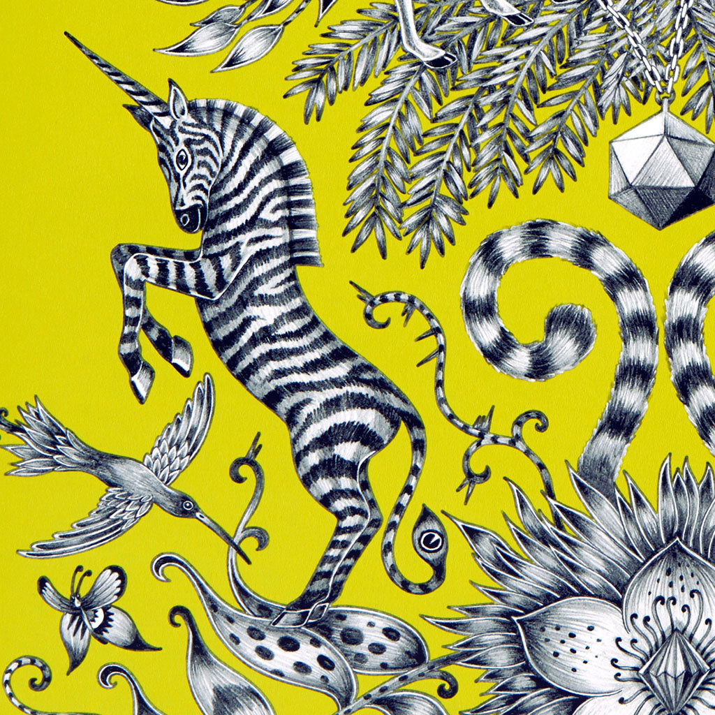 Detail of zebra unicorns playing in the Kruger wallpaper, part of the Animalia collection designed by Emma J Shipley x Clarke and Clarke