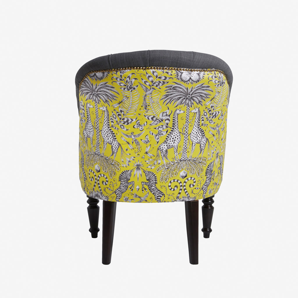 The Kruger fabric design featured in the Soho Chair design for the Animalia collection by Emma J Shipley x Clarke & Clarke